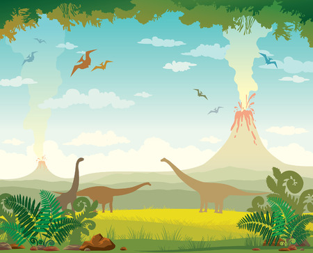 pterodactyl: Prehistoric landscape with silhouette of dinosaurs, mountains, volcano with lava and green grass with fern.