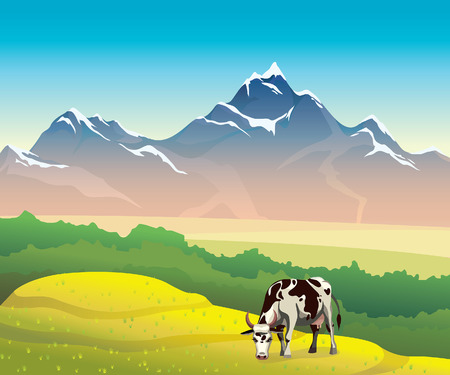 Summer landscape with cow, green meadow, forest and mountain on a blue sky. Vector nature illustration.