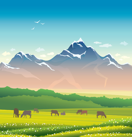 summer sky: Summer landscape. Nature illustration with silhouette of cows, green grass, forest and mountains on a blue sky.