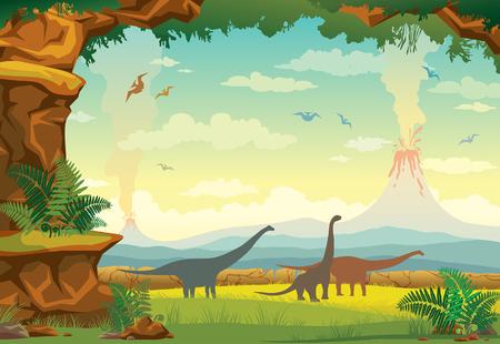 Paisaje prehistórico con montañas, volcán, silueta de dinosaurios (pterodáctilo y diplodocus) y muro de piedra con helecho. Ilustración de vector con animales extintos.