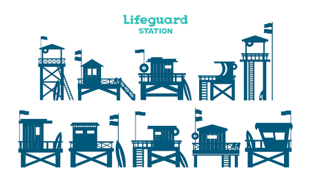 Set with isolated silhouette of lifeguard stations on a white background. Vector illustration with lifeguard towers.