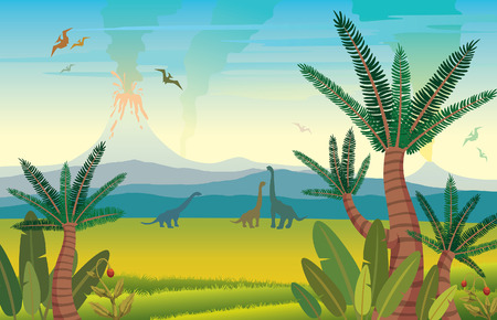 Prehistoric landscape with silhouette of dinosaurs, volcanos with lava and green grass with plants. Vector illustration with extinct animals - pterodactyl and diplodocus.