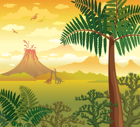 Prehistoric green plants, silhouette of dinosaurs and volcano with lava on a cloudy yellow sky. Vector landscape with extinct animals - diplodocus and pterodactyl. Illustration