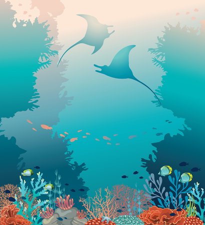 Silhouette of two stingrays and coral reef with underwater creatures on a blue sea. Tropical vector illustration. Ocean wildlife.