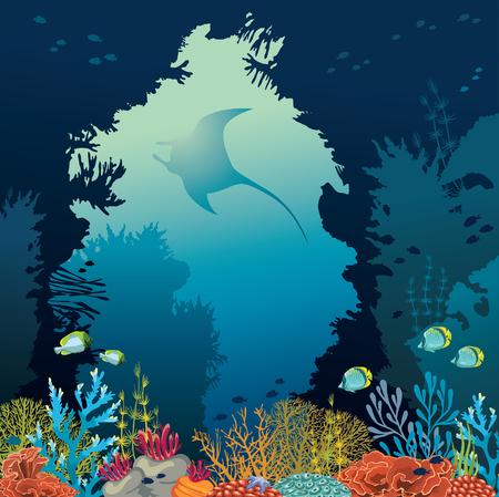 Ilustración de vector con coloridos arrecifes de coral y silueta de manta. Criaturas subacuáticas en un fondo azul del mar.