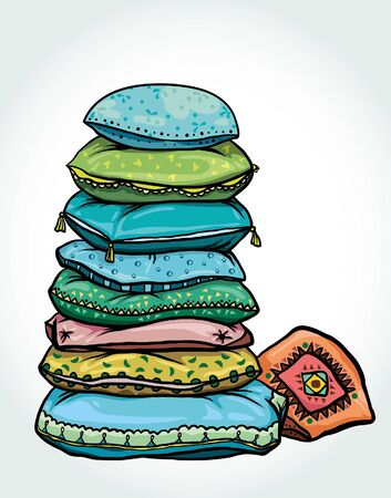 Vector cartoon illustration with tower of colorful pillows on a white background.