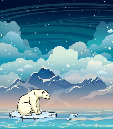 floe: Polar bear sitting on the ice floe in a sea on a starry sky background. Night vector illustration.