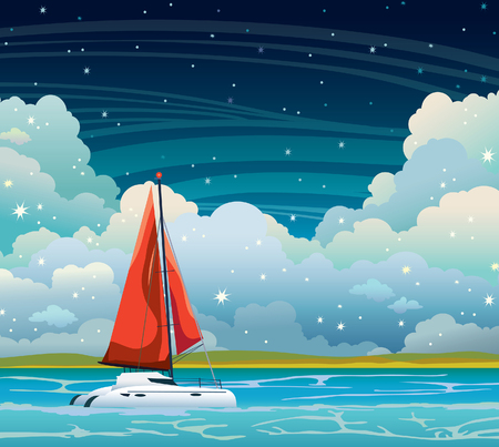 Vector landscape - Yacht with red sails, blue sea, and coastline on a cloudy sky. Summer night illustration.