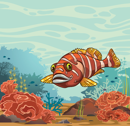 Cartoon vector illustration - funny smiling fish and underwater coral reef on a blue sea background.