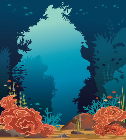 Vector seascape with underwater cave, coral reef and school of fishes on a blue sea background. Marine life illustration.