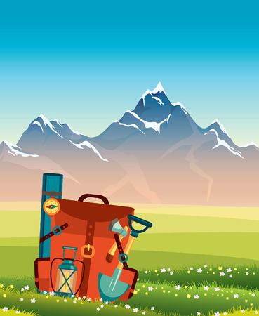 Red backpack with camping equipment on a summer landscape with green grass and mountains. Illustration