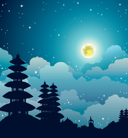 Night starry landscape with silhouette of traditional Bali temples on a cloudy sky with full moon. Vector nature illustration.