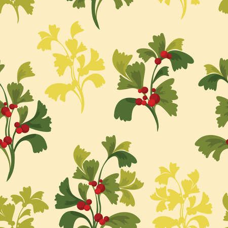 red berries: Seamless pattern - green plants with red berries. Vector summer wallpaper. Illustration