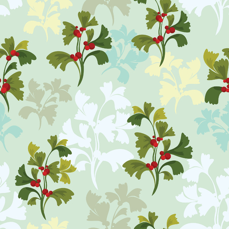 red berries: Vector summer wallpaper - green plants with red berries on a blue background. Seamless pattern.