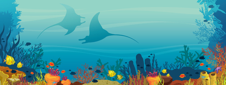 Silhouette of two mantas, coral reef and school of fish on a blue sea background. Underwater marine life. Vector illustration. Illustration