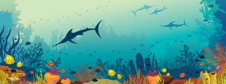 Vector illustration with coral reef, school of fish and silhouette of marlin fish on a blue sea background. Illustration