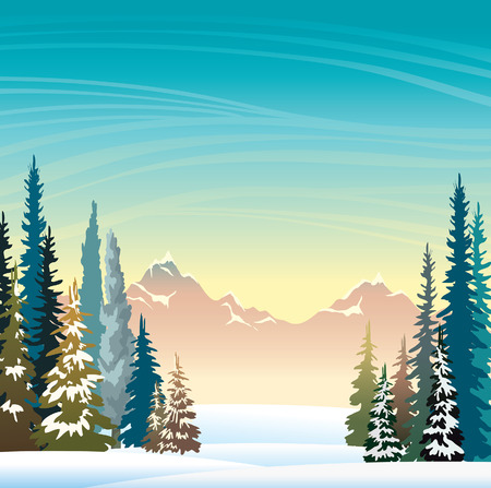 Winter vector landscape. Snowy forest and mountains on a sunrise sky background. Nature illustration. Illustration