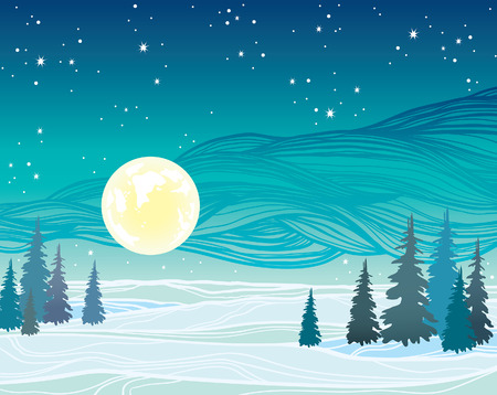Yellow full moon, silhouette of forest and starry night sky. Winter vector landscape. Nature illustration. Illustration