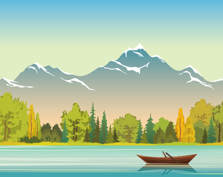 Wild nature illustration. Vector autumn landscape with wooden boat, calm lake, forest and mountains with snow. Illustration