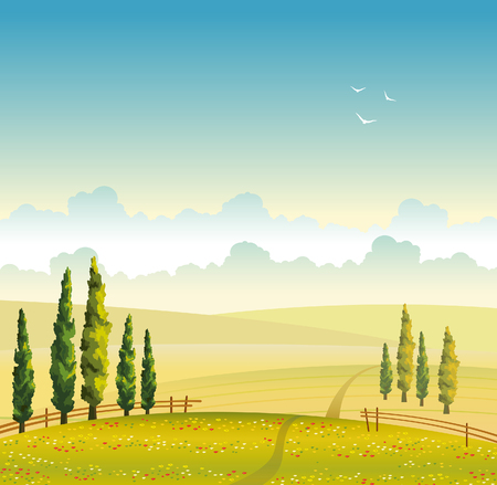 cypress: Summer vector landscape with green cypress, field with red flowers and cloudy sky. Natural illustration. Illustration