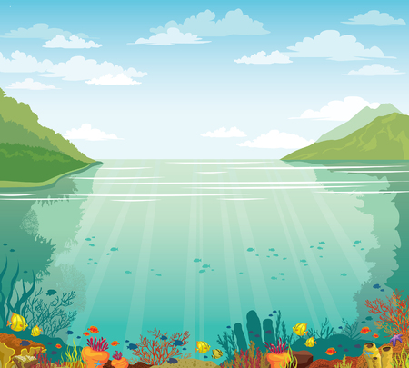 Green island, blue sea and marine wild life with school of fish. Cloudy blue sky above the underwater coral reef. Vector summer illustration. Illustration
