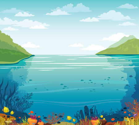 Cloudy blue sky above the underwater coral reef. Vector summer illustration. Green island, blue sea and marine wild life. Stock Illustratie