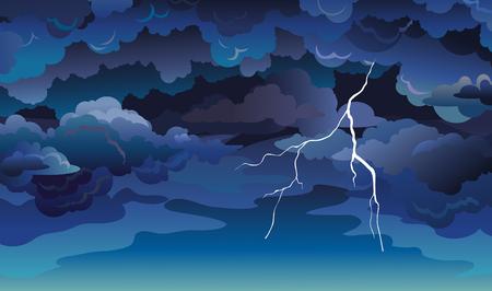 Vector skyscape con nuvole blu, cielo scuro e fulmini. Illustrazione con tempesta estiva.