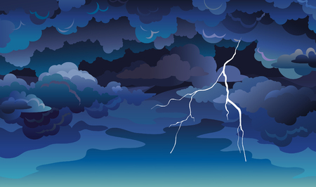 Vector skyscape with blue clouds, dark sky and lightning. Illustration with summer storm. Illustration
