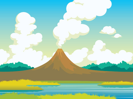 Summer landscape with active volcano, calm lake, green grass and cumulus clouds on a blue sky. Natural vector illustration. Illustration