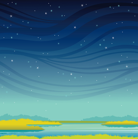 Green grass and calm lake on a night starry sky. Vector summer illustration. Natural landscape.