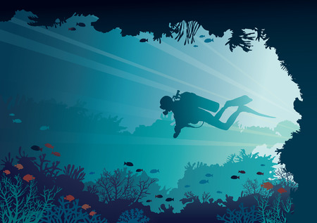 Silhouette of scuba diver, coral reef and underwater cave on a blue sea background. Vector nature illustration. Marine life.