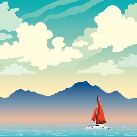Sailboat, calm blue sea and silhouette of mountains on a cloudy sky. Summer landscape. Vector nature illustration.