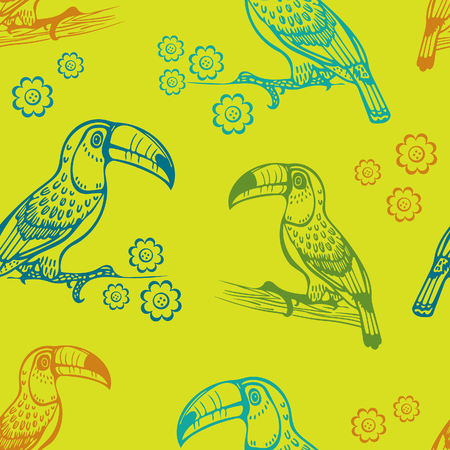 Colorful seamless pattern with cartoon toucans on a green background. Vector illustration. Wallpaper with exotic bird.