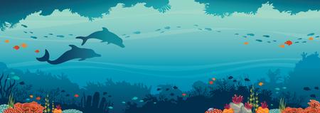 Silhouette de deux dauphins, récif de corail et banc de poissons sur un fond de mer bleue. Caverne sous-marine et créatures océaniques. Paysage marin de vecteur.
