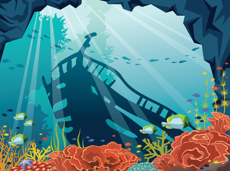 Underwater cave with coral reef, school of fish and silhouette of sunken old ship on a blue sea. Vector illustration. Marine wildlife.