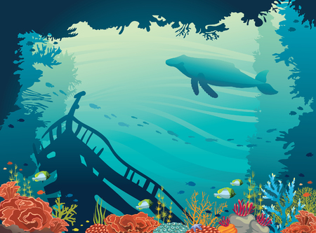 Underwater vector illustration. Silhouette of sunken ship, coral reef, fish and whale on a blue sea. Marine wild life. Illustration