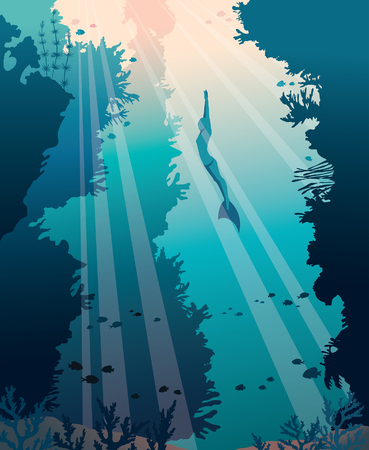 A Vector illustration about underwater sport. Silhouette of free diver in monofin and walls of coral reef on a blue sea background. Illustration