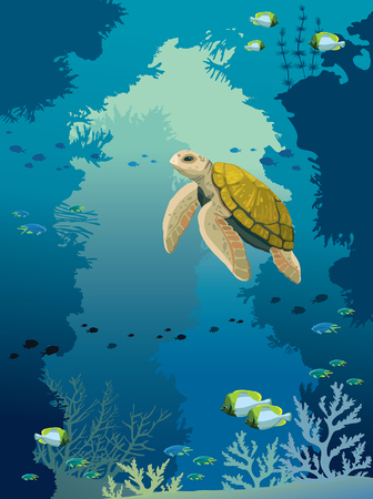 Cartoon yellow turtle, coral reef with fishes and underwater cave on a blue sea background. Vector illustration about wild marine life. Illustration