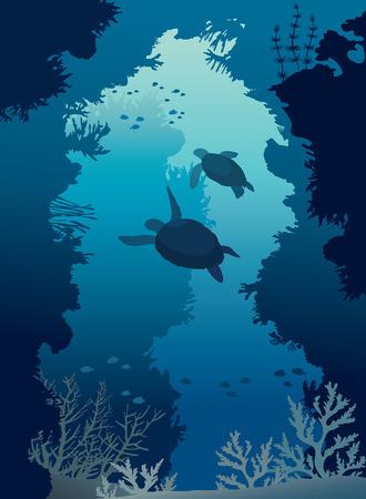Onderwater zeegrot met silhouet van twee schildpadden, koraalrif en school van vissen. Diepblauwe zeeleven. Vector illustratie. Stock Illustratie