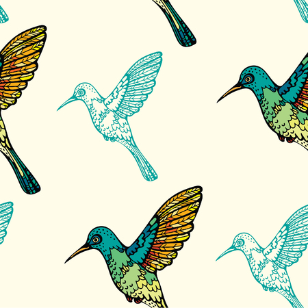 Seamless pattern with colorful graphic hummingbirds on a yellow background. Vector birds wallpaper.
