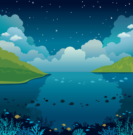 Underwater or sea with coral reef and green islands on a night cloudy blue sky. Natural vector illustration.