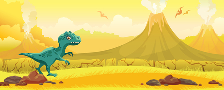 Cartoon blue tyrannosaur, yellow grass, active volcanos and silhouette of pterodactyl on a sky. Prehistoric nature landscape. Vector illustration with dinosaurs.