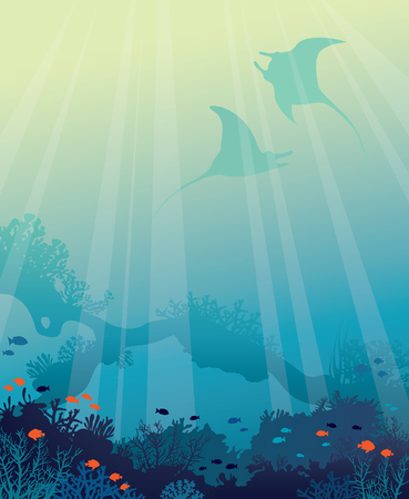 Silhouette of two mantas and underwater arch with beautiful coral reef and fishes on a blue sea background. seascape illustration. Ocean wildlife.