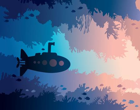 Karikaturunterseeboot- und -unterwasserhöhle mit Fischen und Schattenbild des Korallenriffs auf einem blauen Meer. Vektor-Illustration. Vektorgrafik