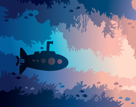 Cartoon submarine and underwater cave with fishes and silhouette of coral reef on a blue sea. Vector illustration. Illustration