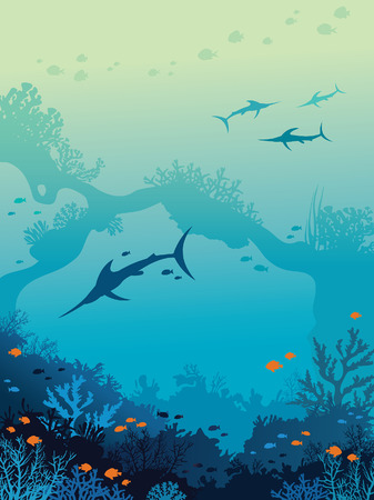 billfish: Ocean wildlife - group of marlins, coral reef, underwater arch and school of fishes on a blue sea background. Vector seascape illustration.