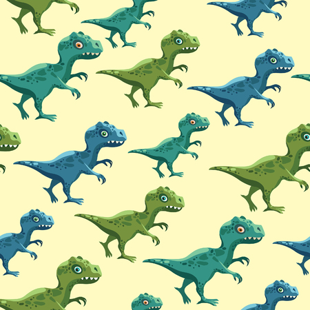 Vector childish wallpaper with dinosaurs. Cartoon seamless pattern with color tyrannosaurus on a yellow background.