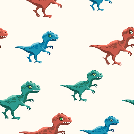 Cartoon seamless pattern with color tyrannosaurus on a white background. Vector childish wallpaper with dinosaurs.