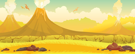 Three smoking volcanoes with lava, yellow grass with snones and silhouette of pterodactyls on a blue sky. Prehistoric nature landscape. Vector illustration. Illustration