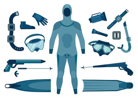 Set of isolated spearfishing equipment. Vector illustration. Underwater hunter. Illustration